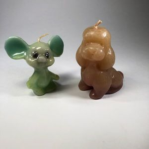 Vintage Wax Candle Set Green Mouse & Brown Dog